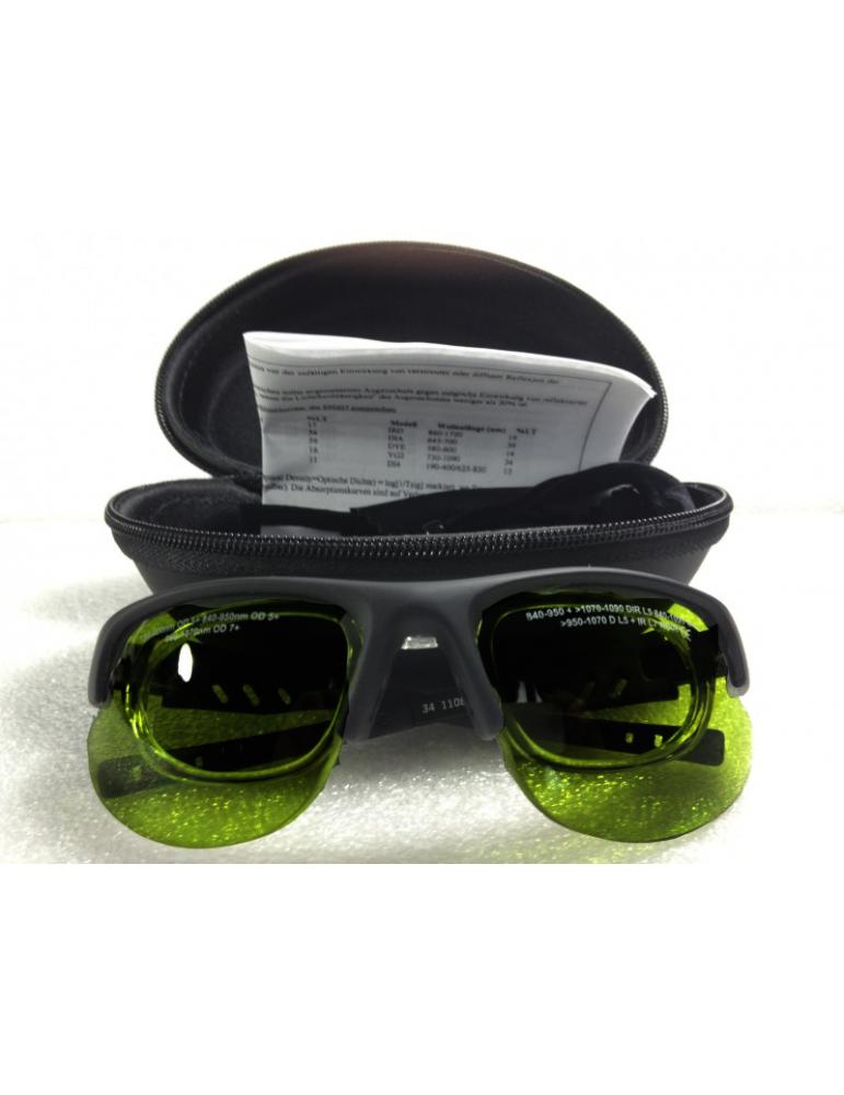 Gafas pulsadas de banda ancha ligera con FrameNoIR LaserShields 2PL-34 de banda ancha adicionales
